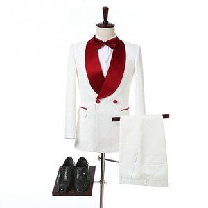 Ivory Мужские костюмы с красной шали Воротник Двойной Брестед 2 Кусочки костюмы Свадебный костюм для жениха Side Vent Дешевые выпускного вечера смокинги Новый
