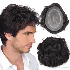 parrucchino Pezzo Top Hair Stock Human parrucche per gli uomini di uomini con NPU più durevole parrucchino peruviano Remy parrucca Mens confortevole TS-1