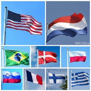 90 * 150 cm País Bandera Nacional 35 Estilos 3 * 5 pies de poliéster de colores de la bandera de la bandera de la decoración del hogar Jardín Banderas 100 piezas OOA6591