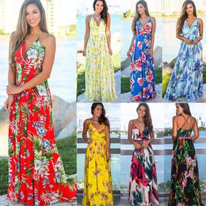 السيدات الزهور اللباس الرافعة 15 الألوان للمرأة البوهيمي V عنق فساتين النسائية عارضة بوهو شاطئ زهرة فستان طويل 060331