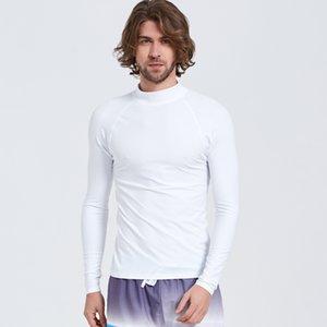 Мужская с длинным рукавом Rash Guard Swim рубашка Белый Rashguard купальник топ Солнце УФ защита компрессионный базовый слой гидрокостюм круглый вырез