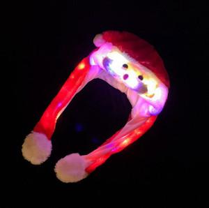 Bewegliche LED Beard Santa Hat Cartoon Weihnachten Hat Plüsch schöne Cap-Winter-warmer Kappen Kostüm Lustige Party-Hüte 15pcs OOA7459-15