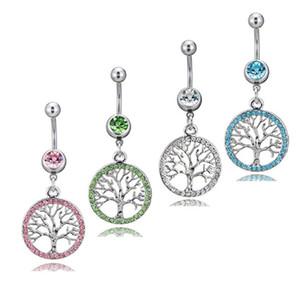 D0753-4 (4 Renkler) Mix Renk Yaşam-Ağaç Tarzı Göbek Düğmesi Yüzük Piercing Vücut Jewlery 1.6 * 11 * 5/8 Belly Ring Vücut Takı