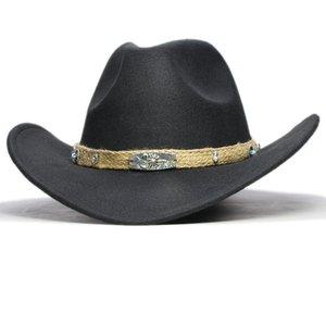 Retro lavorato a maglia banda genitore-bambino delle donne degli uomini / delle lane del capretto largo da cowboy Cappello Western Cowgirl Bowler Cap (57 centimetri / 54 centimetri)