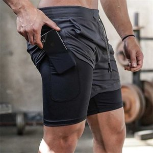 Men's Running Shorts Mens 2 in 1 Sports Shorts Male double-deck Quick Drying Sports men Jogging Gym men