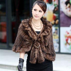 (TopFurMall) Зимнего Handmade Подлинной Вязание шаль Женщина Тонкого Пончо Женщина Меховая накидка 0053