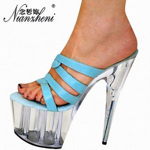Nianzheni New Women Summer Cos Player Platform Sandals Party Vestido Feminino Sapatos De Cristal De 8 Polegadas E Saltos Altos Chinelos
