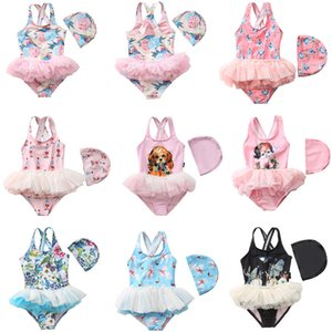 12styles Printed baby swimsuit the One-pieces ballerina baby kids dress summer dress little princess swimsuit with hat 2pcs lot FFA4088