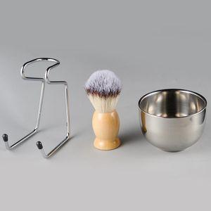Men's Shaving Brush Set Badger Hair Wood Handle Stainless Steel Foam Bowl Barber Men Facial Beard Cleaning Shave Tool HHA1184