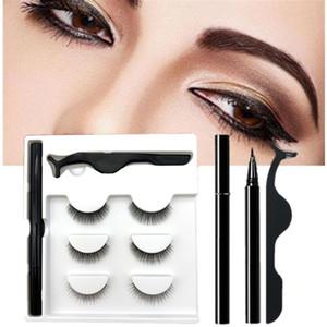 3 Pairs Set Magic False Eyelash Self-adhesive Lashes Eyeliner Mascara Eyelash Curler Set No Glue No Magnet Self Stick Eyeliner