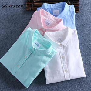 Schinteon 남성 봄 여름 코튼 리넨 셔츠 슬림 스퀘어 칼라 편안한 땀받이 남성 플러스 크기 T200505