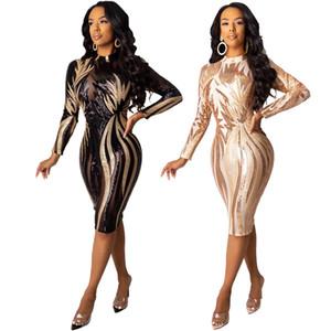 fashion New womens club dress see-through skirt shiny night dress long sleeve lady bodycon sexy club dress