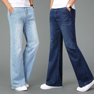 Free shipping men's 2020 Summer Lightweight Thin Wide-leg Jeans Flares Trousers Black and Blue Plus Size Business Casual Pants
