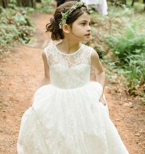 Vintage Simple Long Floor Lace Little Flower Girls Dresses For Weddings Jewel Neck V Backless Graduation Party Gowns