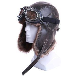 Inverno Bomber Cappelli peluche Earflap russo Colbacco con Trapper Cappello Aviatore pilota Ecopelle di Goggles Uomini Donne Pelliccia Neve Caps LY191228