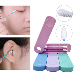 2Pcs High Quality Reusable Silicone Cotton Swab With Case Ear Eye Cleaning Washable Makeup Swabs Soft Flexible Make Up Tools