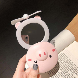 LED USB Pig Cartoon Fan Mini maquillage pliant Miroir multifonction rechargeable Fan LED Forme Pig Portable Fill Maquillage Lumière Miroir BH1932 EJT