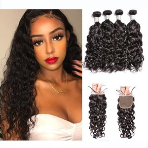 10A Virgin Mink Brazilian Water Wave Weaves Peruvian Unprocessed Water Wet and Wavy Human Hair Bundles With Lace Closure
