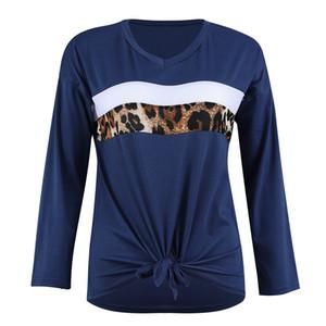Womens solto Leopard Stripe T-shirt de manga comprida Tops elegantes Blusa Moda Casual Blusa New listra azul Vermelho