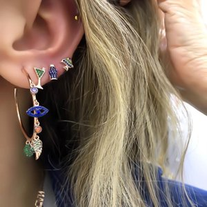 Colorful cz paved lucky charms hoop earring evil eye wing hamsa hand gorgeous stunning european women earrings T200225