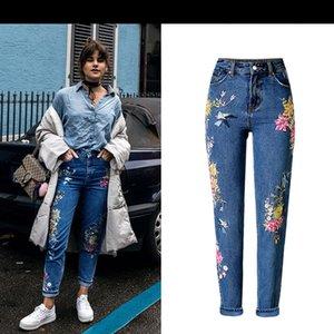 Sherhure Vintage Vogel-Stickerei-Frau Taille der Qualitäts-beiläufige Denim-Hosen-Jeans Femme