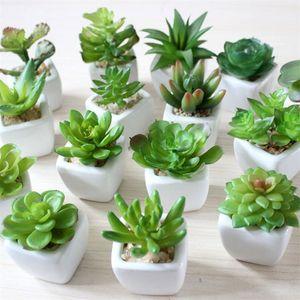 Mini Artificial Plantas Suculentas Bonsai PVC Material Vaso de Flor Quadrado Simulado Bacia De Cerâmica Planta Em Vasos de Escritório 3 4sm L1