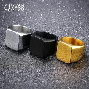 Caxybb Sleek einfachen quadratischen Ring Männer reibungslosen Geschäfts männlich einzigen Ring Fashion Square gold schwarz Edelstahl Partei Ringe