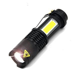 Q5 COB LED Flashlight Portable Mini Zoom torchflashlight Use14500 Battery Waterproof in life Lighting lantern ZZA433