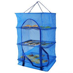 Pesce Mesh Home Storage Organizzazione di pulizie Organizzazione Hanging asciugatura netti di prodotti alimentari Dehydrator pieghevole durevole 4 strati di verdure Pesce