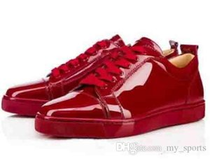 Elegant Low Top Red Black Sneakers Junior Flat Red Bottom Shoes Women Men Trainers Patent Leather Lace-up Red Soles Luxury Party Dress Shoe