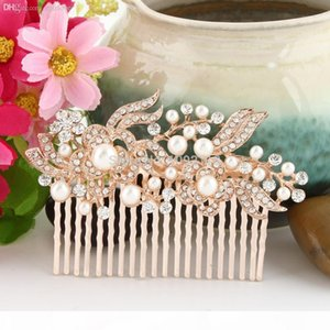 Wholesale-BELLA 2015 Rose Gold Tone Hair Jewelry For Bridal Clear Flower Ivory Pearl Hair Comb Austrian Crystal Headpiece Accessories
