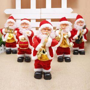 Creativo elettrico Babbo Natale Canto Sassofono bambola Babbo Natale ornamenti Bambini Regali decorazioni Dancing di musica di Santa giocattolo