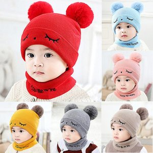 Hot Selling Newborn Kids Baby Boy Girl Pompon Hat Winter Warm Knit Crochet Beanie Cap Scarf