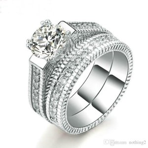 luxury jewelry wedding rings sets for wemen silver color 2 Rounds Bijoux Fashion free od shipping