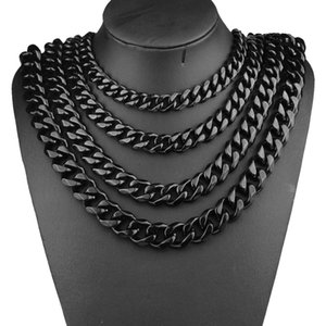 Men Hip hop Chains Necklaces Stainless Steel never fade 8 10 12 15 17 19mm width black Cuban chain Necklace Hiphop jewelry gift