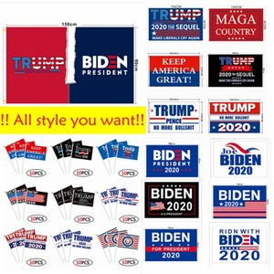 2020 Dekor Banner Trump Biden Bayrak Amerika Cumhurbaşkanlığı Seçim Amerika Büyük tekrar 90 * 150cm Flags 14X21cm El Bayrak HHA1375 tutun