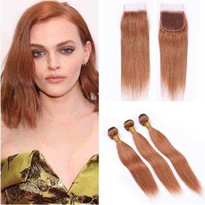 # 30 Medium Auburn Weaves Cabelo Liso brasileiros com fecho reto de seda Auburn cabelo humano tramas 3Bundles com Lace Encerramento 4x4