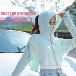 2020 Beach nuova delle donne di usura Sun Protection Cover-up del cappello di Sun UV shirt protezione solare Abbigliamento manica lunga trasparente