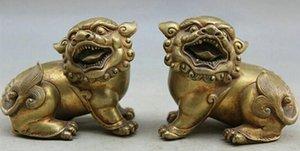 "NUOVO ""Chinese Copper Gild animale Foo Fu Dog Guardion Lion scultura Statua Pair"