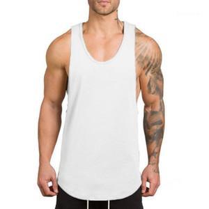 Camisetas de verano de gimnasia ropa de la aptitud de los hombres de moda del color sólido sin mangas respirable se divierte camisetas para hombre funcional Loose