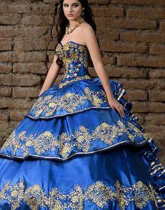 Quinceanera Kleider Blau Ballkleid Schatz Rüschen Abendkleid Charro Sweet 16 Kleid Puffy Traditional Quinceanera Mexican