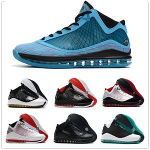 Sapatos Tapete Vermelho New All star Lebron 7 homens exteriores Branco Preto Azul Vermelho Vidro Refrigeração de alta qualidade James 7s Sports Sneakers 40-46