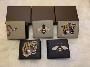 animaux hommes de haute qualité court portefeuille serpent noir en cuir Tiger abeille Portefeuilles Femmes Long style Porte- Cartes de portefeuille aux porteurs coffret cadeau