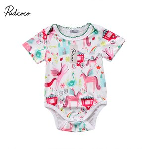 Pudcoco Nouveau-né Bébés filles coton Unicorn Bodys manches courtes Bouton couvert Bodies Jumpsuit Vêtements Tenues
