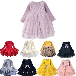 Baby Girls Dress Little Princess Lace Vest Long Sleeve Dress Summer Clothes Kids Wedding Party Vestido Infantil Menina 3 5 7 8 Y