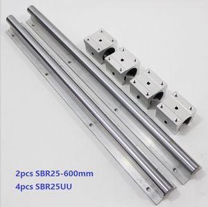 2pcs SBR25-600mm guide linéaire / rail + 4pcs SBR25UU paliers linéaires pour pièces de routeur cnc