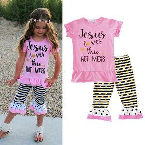 Vêtements pour enfants pour bébé Set Lettres t-shirts Pantalons Bandeaux Set Fashion Summer Fille Enfants Tops Costumes Accueil Vêtements Free DHL WX9-1317