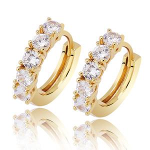 Hip Hop Earrings Luxury Bling Zircon High Grade 18K Gold Rhodium Plated Circles Street Fashion Men Women Hoop Huggie Couple Earrings