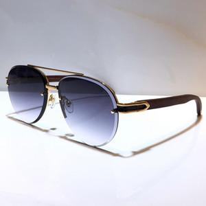 8200986 gafas de sol para los hombres oval oval del marco patas de madera populares UV400 diseñador de los hombres gafas de sol de gran tamaño retro del estilo de la vendimia vienen con el caso