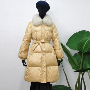 Janveny зима женщин вниз куртка большого натурального меха воротник 90% белых утка вниз ветровки Тонкий Длинные пиджаки с поясом пальто Женский